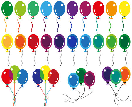 in conjunction: image of balloons in different color variations and in conjunction