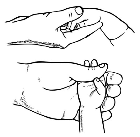 father's: drawing of human hand on a white background