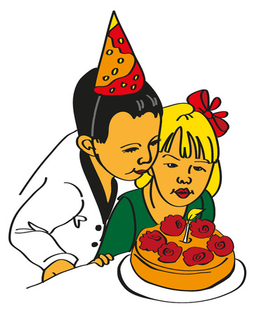 blown: image of a girl and a boy who is blown cake Illustration