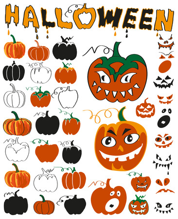 consternation: Preview pumpkins with faces on white background Illustration