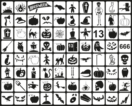 many black icons on a theme halloween Vector