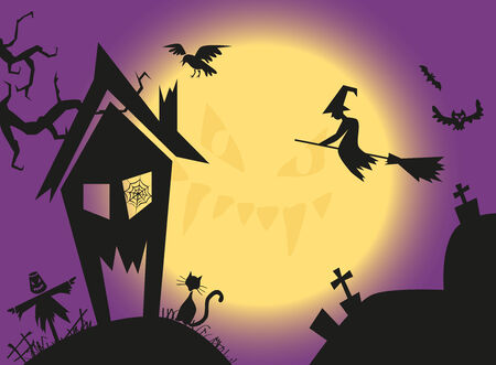 consternation: image on background of the moon and a witch on a broom at home Illustration
