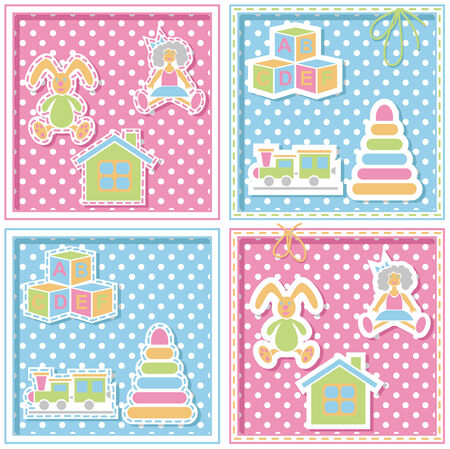 tessera: image of childrens pink and blue background with toys