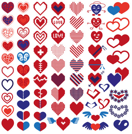 mended: Image icons in heart shape on white . Illustration