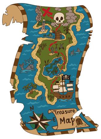 흰색 배경에 보물섬의 해적지도
