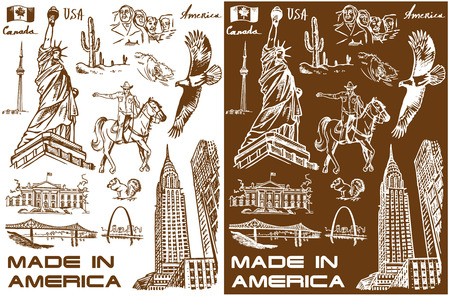 illustration with hand drawings attractions of America