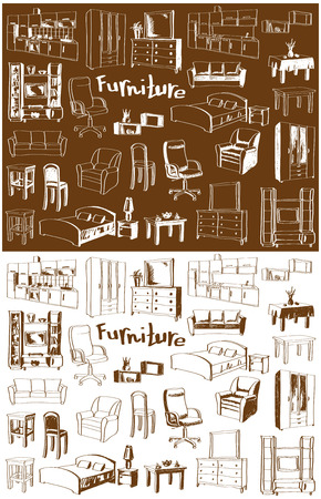chest wall: illustration sketch of furniture for different rooms in the white and brown background