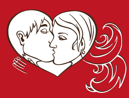 loving couple: image in the heart of a kissing loving couple