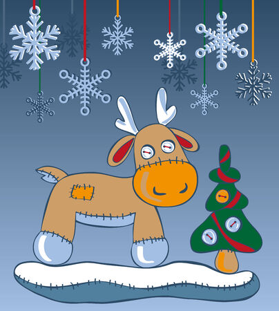hristmas: reindeer in the snow with a Christmas tree and snowflakes
