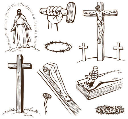 new testament: Paintings of the Crucifixion of Jesus Christ on a white background