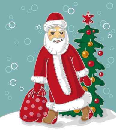 carries: Illustrazione di Babbo Natale porta una borsa con doni Vettoriali