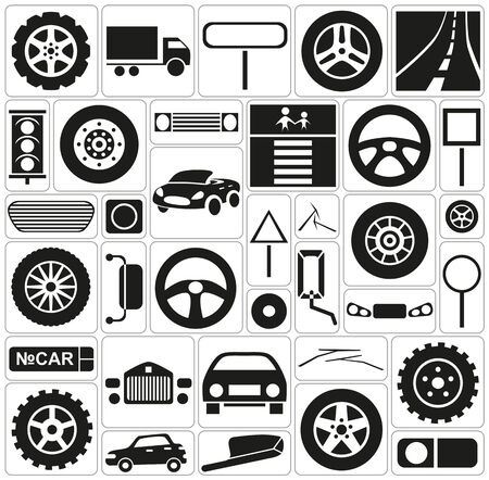 windscreen: Black icons on white background on the topic of car traffic