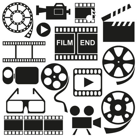 videocamera: Black icons on white background on the topic of video, film