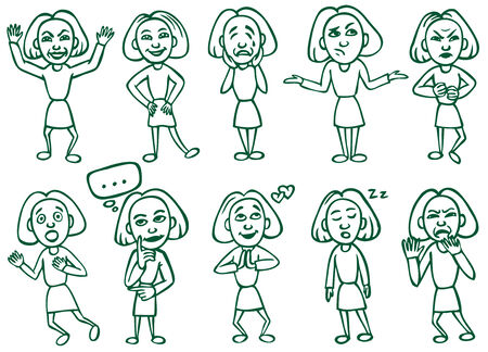 ire: illustration of woman in various poses and facial expressions Illustration