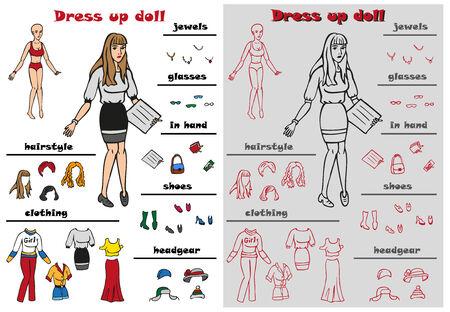 ni�a desnuda: Ilustraci�n de la chica desnuda y mujer en la ropa, mu�eca vestido Vectores