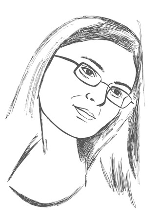poor eyesight: drawing on a white background young woman in glasses