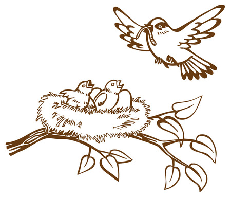 illustration of the bird carries a worm in nest with eggs and chicks