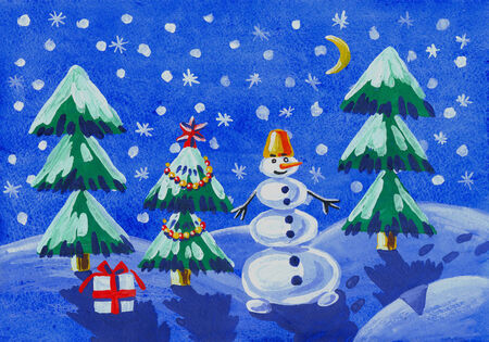 illustration of a childs drawing gouache - winter landscape with a snowman illustration
