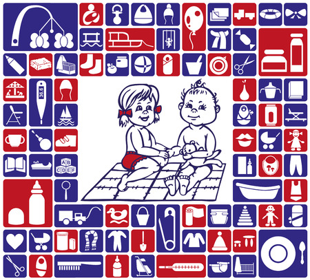 infant bathing: childrens items and icons babies on the rug pattern