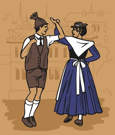 czech women: illustration Czech dance men and women - Polka on city background