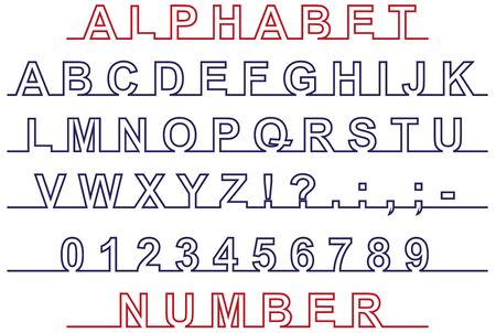 primer: Image of the English alphabet and number on the line on white background Illustration
