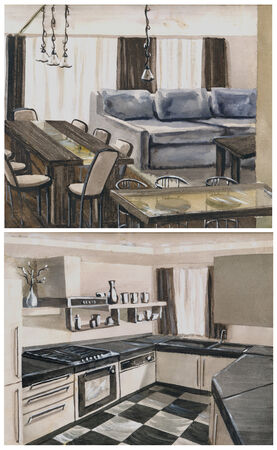 upholstered: watercolor sketch of an interior hall, dining room and kitchen Stock Photo
