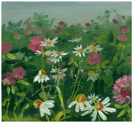 etude: illustration sketch oil painting flowers in the meadow