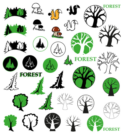deciduous: icons on the topic of forest - coniferous and deciduous trees, mushrooms, squirrel Illustration