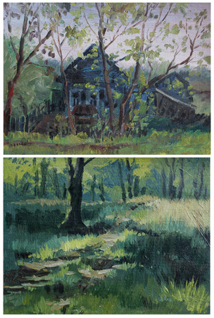 etude: Etude oil paints rural landscape, forest. Two paintings.