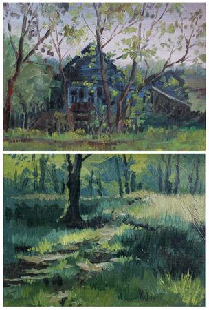 etude: Etude oil paints rural landscape, forest. Two paintings.
