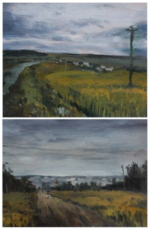 etude: sketches in oils: bad weather. Two landscapes countryside.