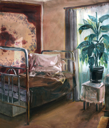 furnishings: sketch in oils: rural interior with a bed and a flower