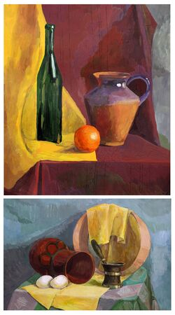 sieve: still life gouache: two pictures with various objects on the table