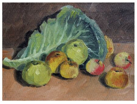 etude: study oil painting: still life of apples and cabbage leaf Stock Photo