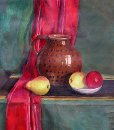 etude: still life oil painting with a pot and fruit in a bowl and red drapery