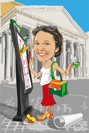 cartoon girl architect with a cup of coffee on a background of architecture in Italy Vector
