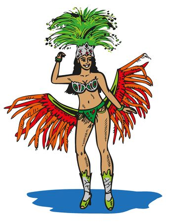 carnival costume: color illustration Brazilian in carnival costume on a white background