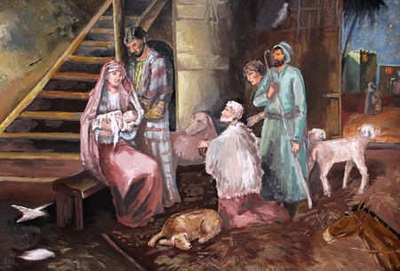 shepherds: illustration gouache on paper Christmas. The shepherds came to the barn.
