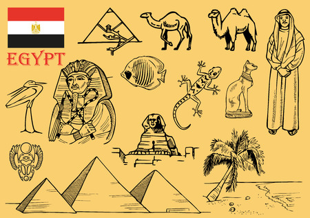 flora fauna: Drawings on the theme of Egypt: architecture, flora and fauna, people