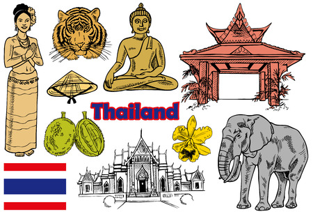 Drawings on the theme of Thailand, people, architecture, flora and fauna Vector
