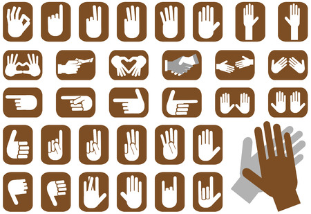 reach out: illustration depicting icons hands with various gestures Illustration