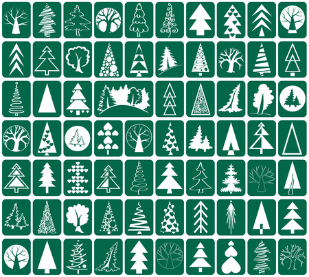 conifers: white icons conifers and deciduous trees on green background stylized