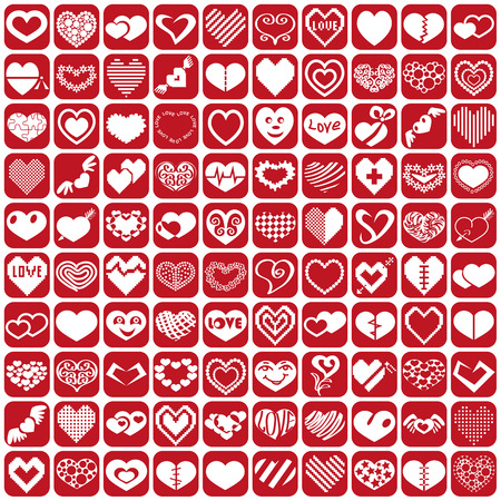 white icons heart set on a red background Vector