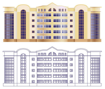dwelling: project of the facade of a residential building on a white background. Illustration