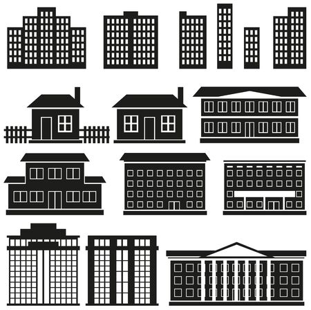 multistory: black silhouettes of buildings of various shapes on a white background