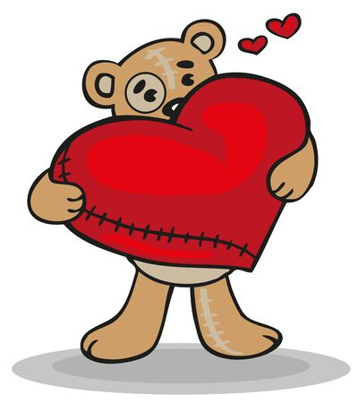 mended: illustration of a teddy bear with a big red heart in his paws