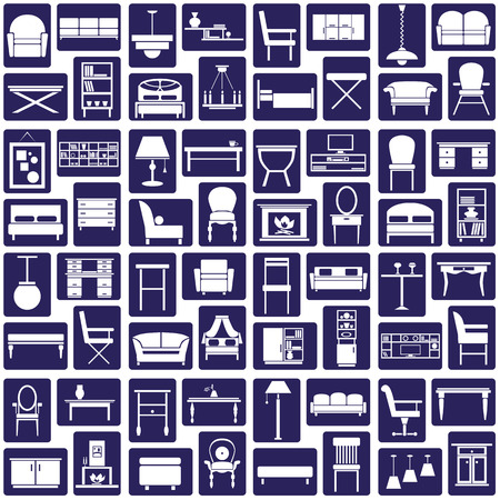 sideboard: white icons on the theme of the furniture on a blue background Illustration