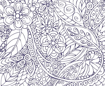 pictorial art: illustration of vegetable and flower ornament on a white background Illustration