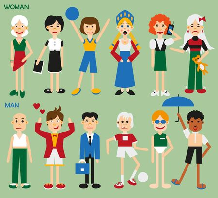 kokoshnik: illustration of men and woman in different clothes on a green background
