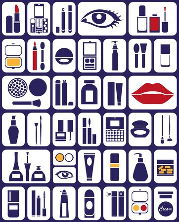 hair spray: icons on the topic of cosmetics for the eyes, body, lips, hair. Illustration